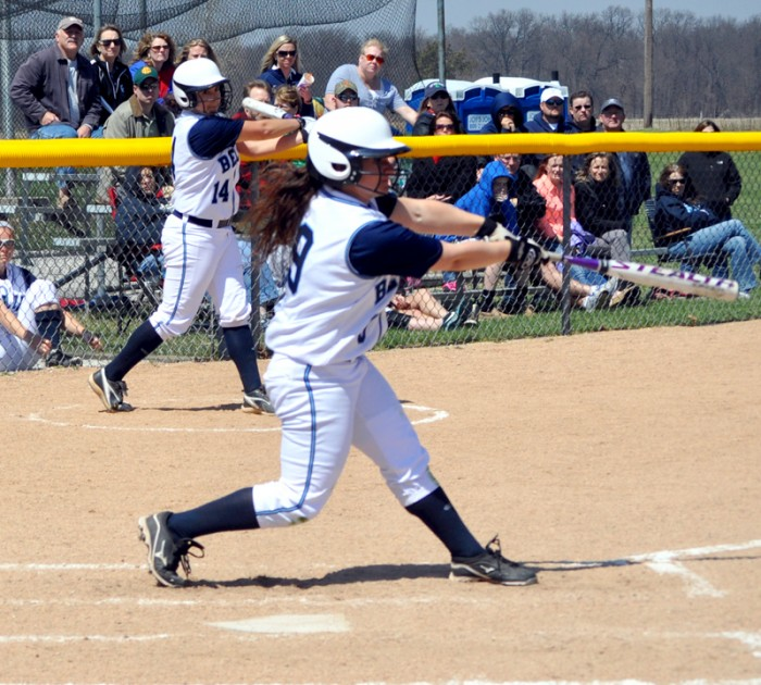 Saint Mary's sophomore outfielder Sarah Callis swings at a pitch during the Belles' 3-2 over Adrian on April 19.