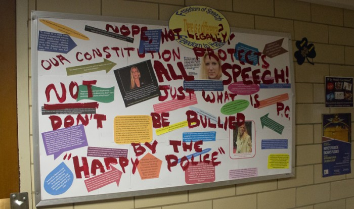 The Africana Studies bulletin board, which was vandalized over Easter weekend, will remain on display until the end of the year.