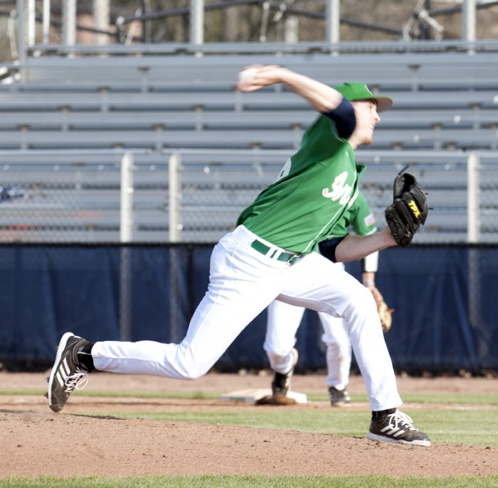 Irish senior pitcher Pat Connaughton releases a pitch during Notre Dame's 12-2 win over Connecticut on April 26, 2013.