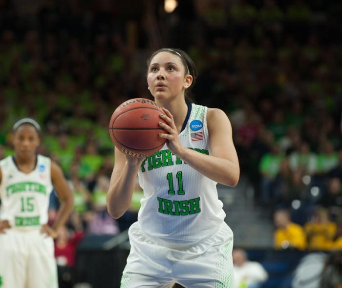 Irish senior forward Natalie Achonwa shoots a free throw during Notre Dame's 88-69 win over Baylor on Monday.