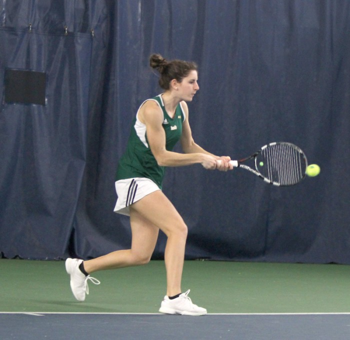 Senior Jennifer Kellner delivers a backhanded hit in Notre Dame's 4-3 loss to Georgia Tech on Feb. 21 at Eck Tennis Pavilion.