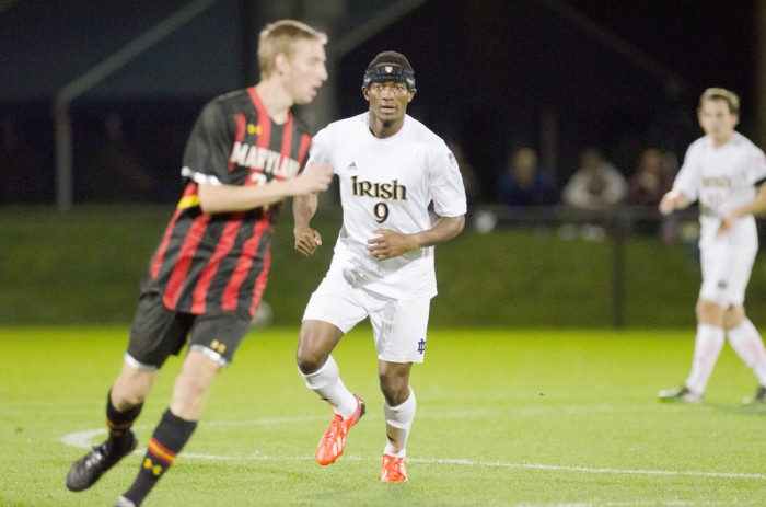 Irish graduate student forward Leon Brown anticipates a Maryland player's next move towards the ball in Notre Dame's 1-1 draw against ACC-rival Maryland on Oct. 8 at Alumni Stadium.