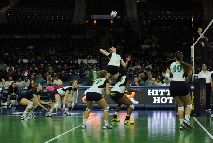 Senior outside hitter Meg Vonderhaar leaps for the spike during Notre Dame's 3-1 win over Virginia Tech on Nov. 20 at Purcell Pavilion.