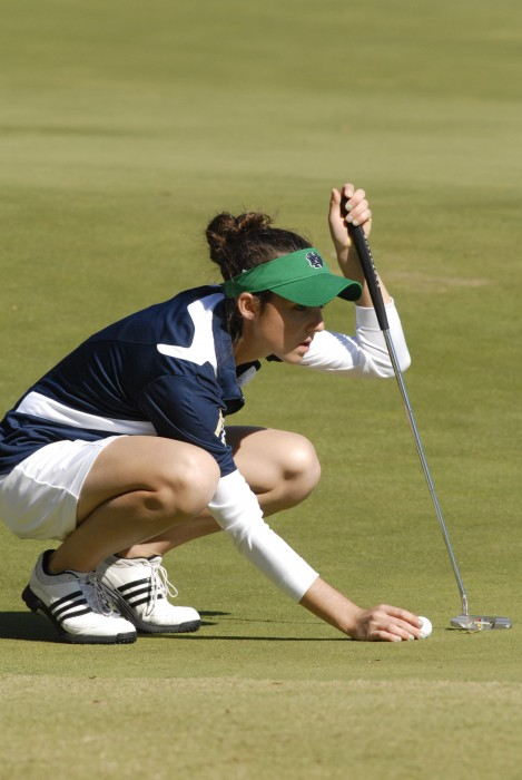 Irish senior captain Ashley Armstrong lines up a putt at the Landfall Tradition in Wilmington, N.C. on Oct. 30, 2011.