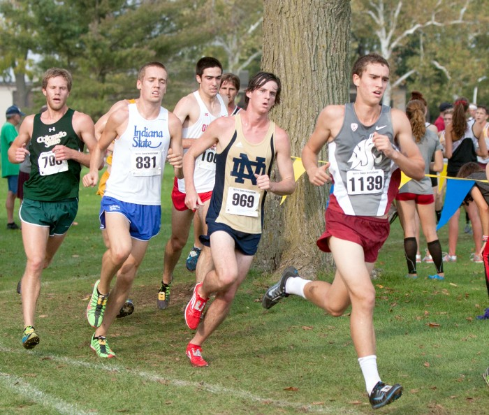 Irish junior Kevin Durham runs with the pack during the Notre Dame Invitational on Oct. 4.