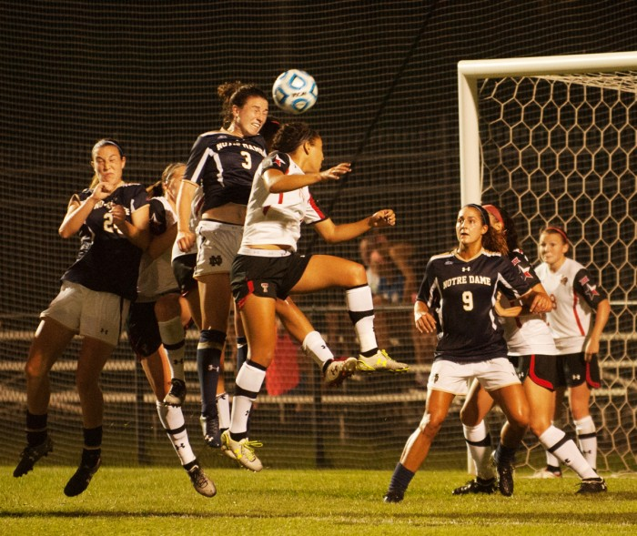 Irish sophomore midfielder Morgan Andrews goes up for a contested header in Notre Dame's 2-1 loss to Texas Tech on Aug. 29.