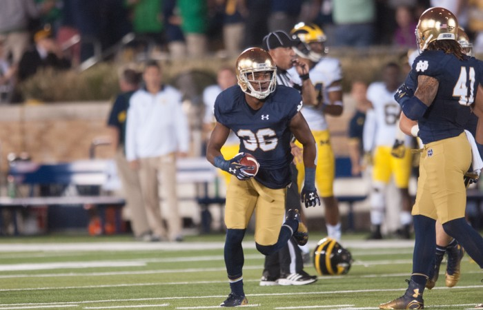 Irish sophomore cornerback Cole Luke turns downfield during Notre Dame's 31-0 victory over Michigan on Saturday. Luke had a near-interception against the Wolverines.