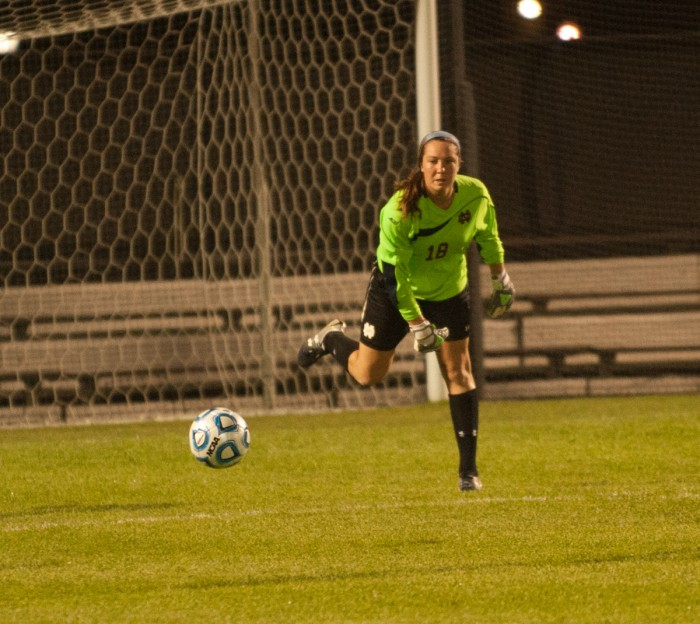 Irish sophomore goalkeeper Kaela Little rolls the ball out to her  teammate in Notre Dame's 2-1 loss to Texas Tech on Aug. 29.