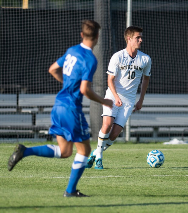Irish sophomore defender Brandon Aubrey looks to clear the ball  during Notre Dame's 1-0 loss to Kentucky on Sept. 8 at Alumni Stadium.