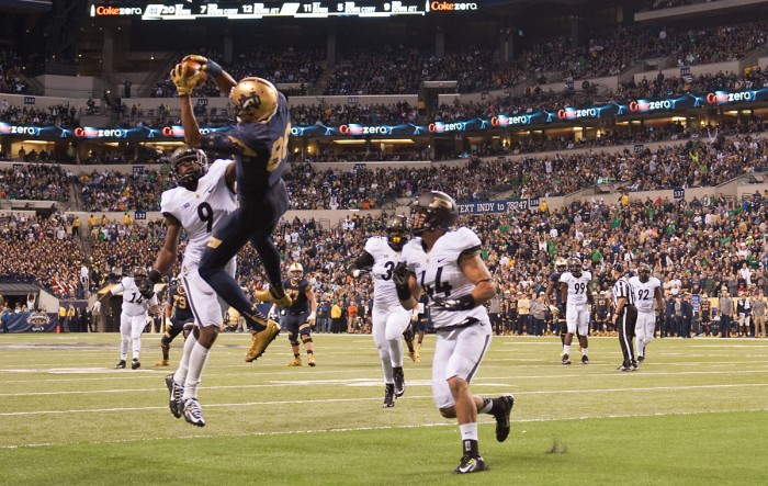 Sophomore wide receiver Corey Robinson hauls in a touchdown during Notre Dame's 30-14 victory over Purdue on Saturday.