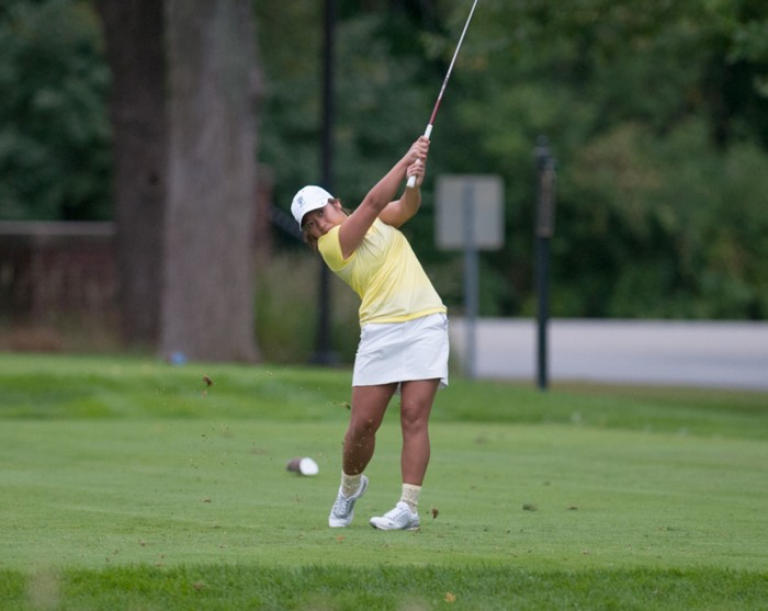Belles sophomore Rachel Kim tees off on Sept. 15, 2013, at the O'Brien National Invitational, hosted by Saint Mary's at Warren Golf Course.