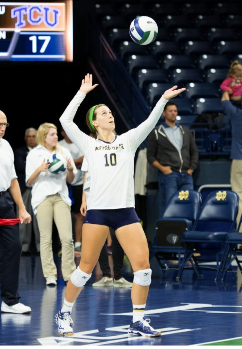 Senior Kathleen Severyn prepares to serve during Notre Dame's 3-1 loss to TCU on Friday, Sept. 12.
