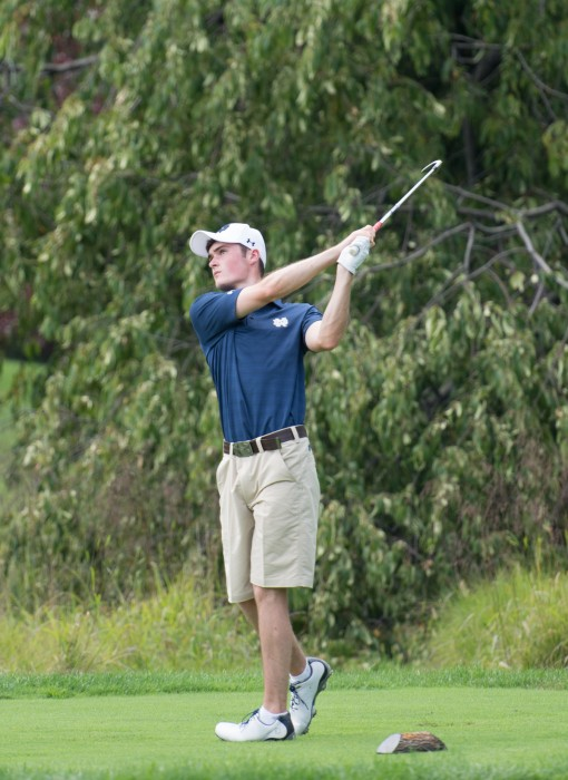 Irish sophomore Liam Cox tees off during the Notre Dame Kickoff Challenge at Warren Golf Course on Aug. 31. Cox tied for 45th place at the Windon Memorial Classic this past weekend.