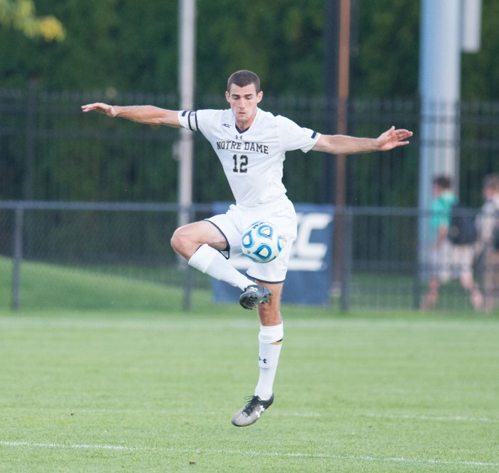 Irish graduate student defender and captain Andrew O'Malley controls the ball during Notre Dame's 1-0 loss to Kentucky.