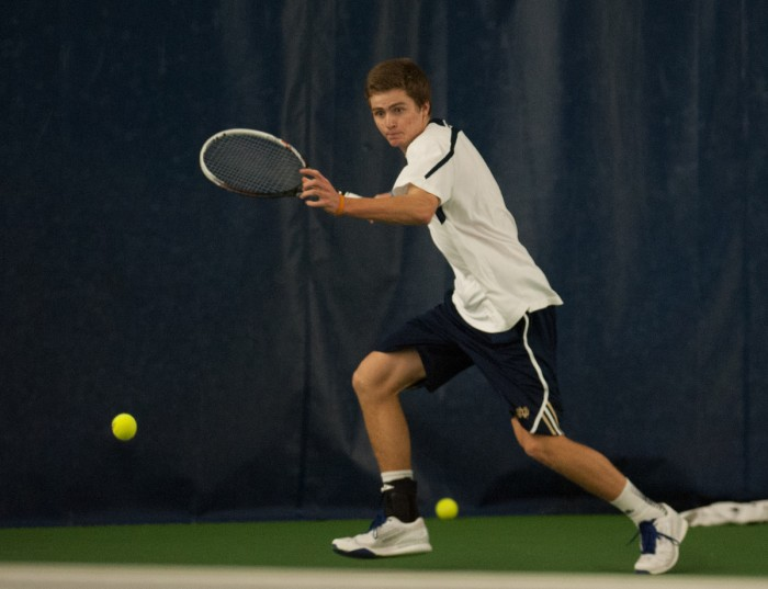 Notre Dame junior Quentin Monaghan prepares to return a shot during a match against Virginia Tech at the Eck Tennis Center on Feb. 28.