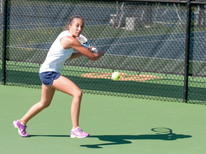 Irish junior Julie Vrabel prepares to return a shot during a match in the Notre Dame Invitational this weekend. Vrabel won one singles match in the invitational.