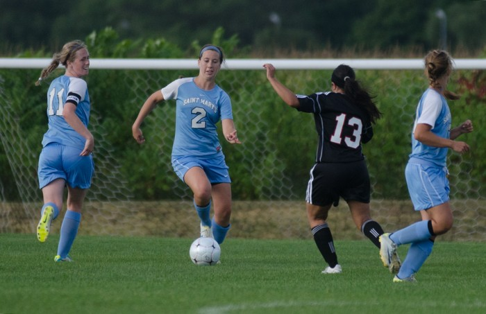 Belles senior defender Kerry Green eludes a defender during Saint Mary's 4-1 victory over Illinois Tech on Sept. 2, 2013.
