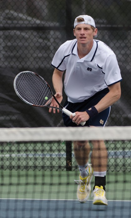 Junior Alex Lawson moves toward the ball in a 6-1 win over Florida State on April 13 at the Eck Tennis Pavilion.