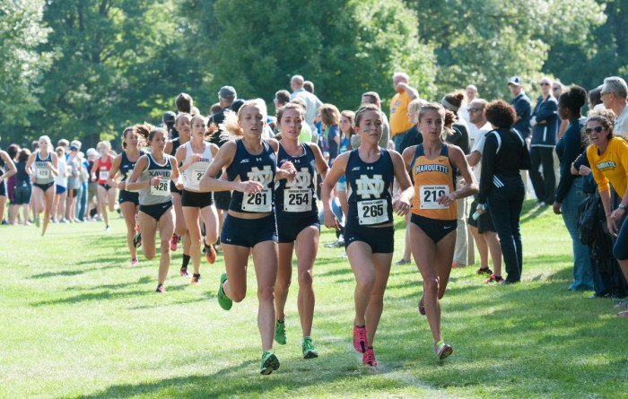 Irish senior Karen Lesiewicz, left, and juniors Danielle Aragon, center, and Molly Seidel lead the pack at the National Catholics on Sept. 19.