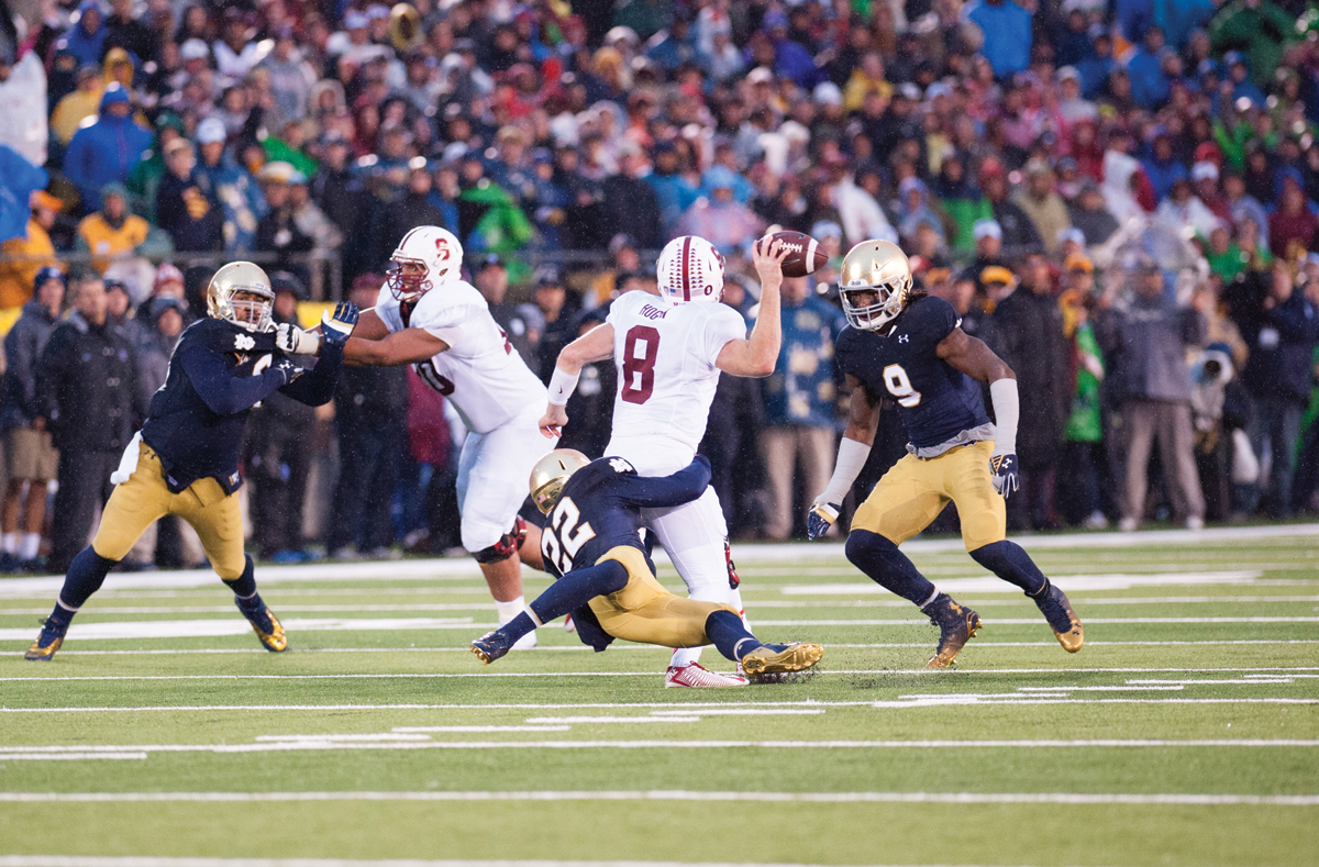 No 7 20141004, 2014-2015, 20141004, Football, Kevin Song, Notre Dame Stadium, Schumate, Smith, vs Stanford