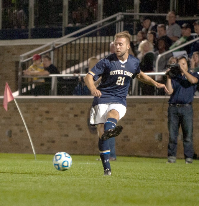 Irish senior forward Vince Cicciarelli passes the ball during Notre Dame's 2-0 win over North Carolina on Sept. 26.