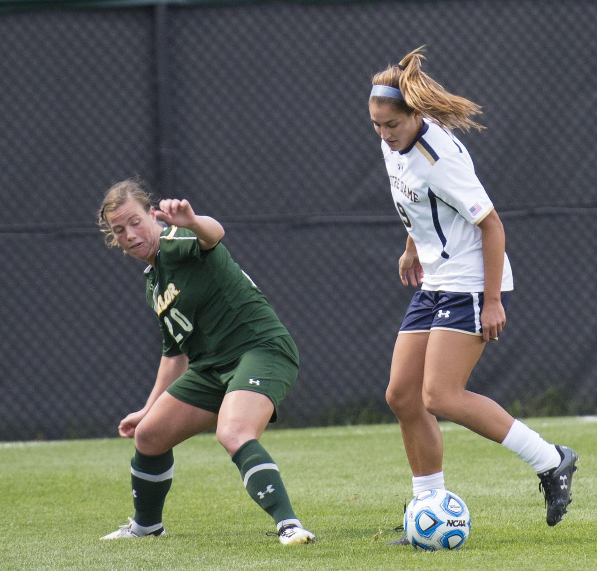 Irish senior forward Lauren Bohaboy dribbles around a Baylor defender in Notre Dame's 1-0 win over the Bears on Sept. 12.