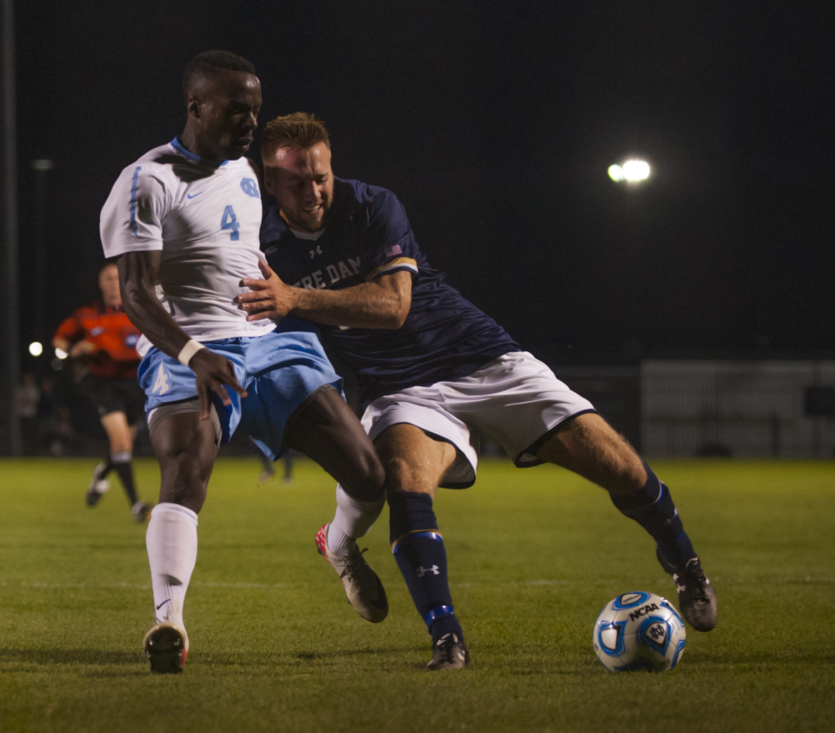 Irish senior forward Vince Cicciarelli fights for the ball with North Carolina senior defender Boyd            Okwuonu during Notre Dame's 2-0 win against the Tar Heels on Sept. 26 at Alumni Stadium.