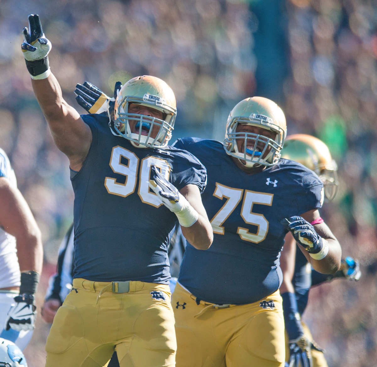 Irish sophomore defensive lineman Isaac Rochell celebrates during Notre Dame's win Saturday.