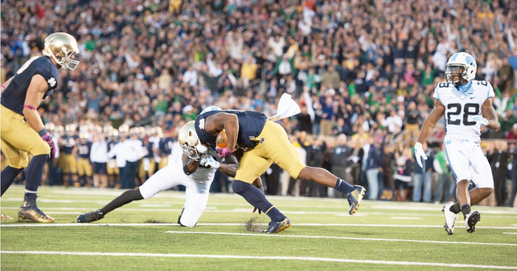 20141011, 20141011, Football, Notre Dame Stadium, vs UNC, Zach Llorens, Zachary Llorens