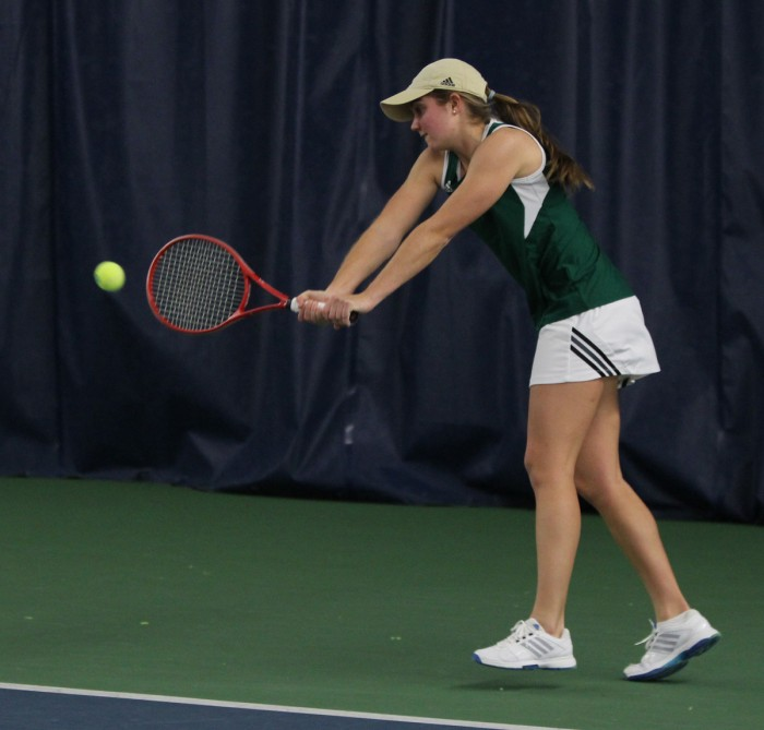 Irish sophomore Mary Closs returns a shot during Notre Dame's 4-3 loss to Georgia Tech on Feb. 21 at the Eck Tennis Center.