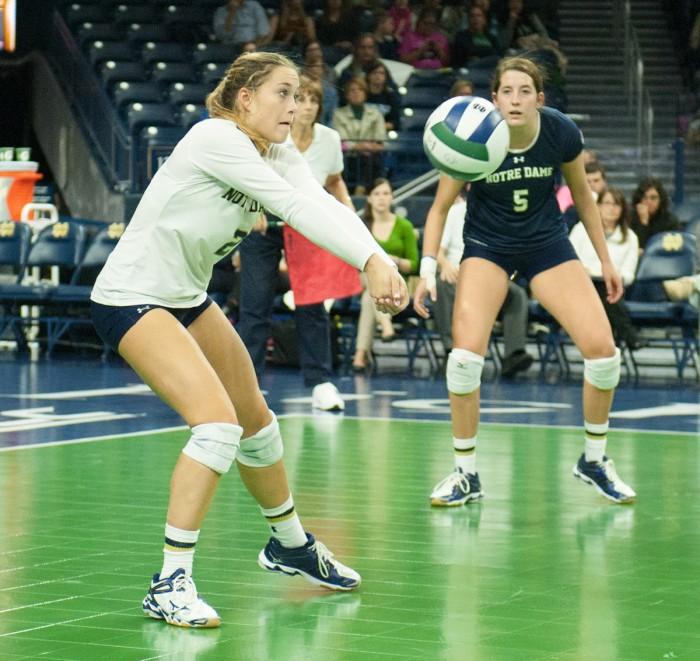 Irish freshman libero Natalie Johnson digs the ball against Duke on Oct. 5 at Purcell Pavilion. Notre Dame won one set, but Duke won 3-1.