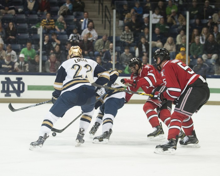Irish junior left wing Mario Lucia tangles with defenders during Notre Dame's 3-2 loss to Rensselaer on Oct. 10.