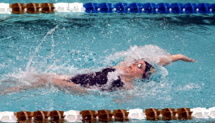 Irish senior Courtney Whyte races in a backstroke event in Notre Dame's win over Valporaiso on Nov. 11 at Rolfs Aquatic Center.