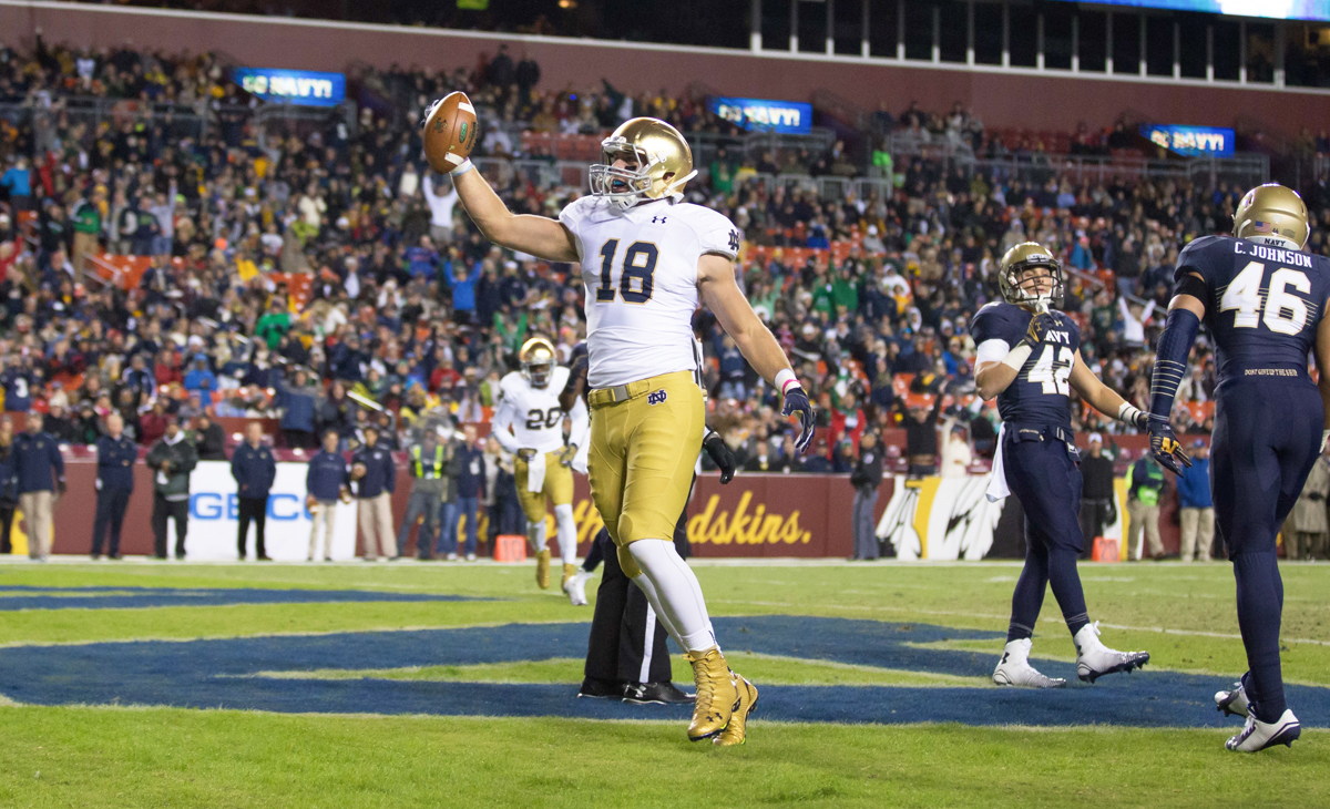 Irish senior tight end Ben Koyack celebrates his first-quarter touchdown reception in Notre Dame's 49-39 win over Navy on Saturday night at FedEx Field in Landover, Maryland.