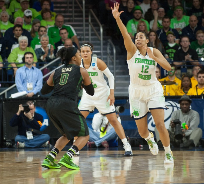 Irish sophomore Taya Reimer goes for the block during Notre Dame's 88-69 victory over Baylor on March 31.