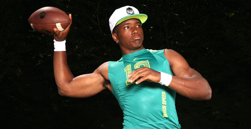 "Class of 2015 quarterback Brandon Wimbush committed to Notre Dame in October after flipping from Penn State. Irish recruiting analyst Tom Loy said Wimbush is ""a five-star quarterback in [his] book."""