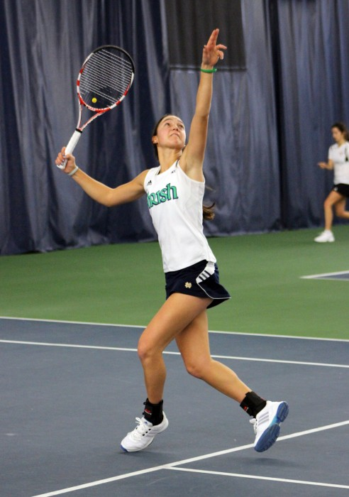 Irish junior Quinn Gleason tracks the ball during Notre Dame's 4-3 victory over Indiana on Feb. 2 at Eck Tennis Center. Gleason won her singles match but lost her doubles competition against the Hoosiers.