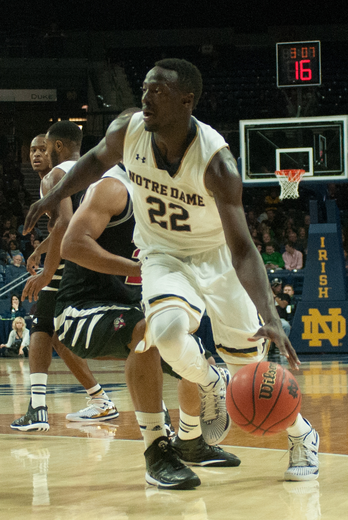 Irish senior guard Jerian Grant dribbles towards the basket during Notre Dame's 82-59 exhibition win against Lewis on Friday.