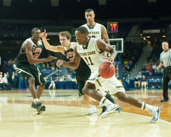 Sophomore Demetrius Jackson drives to the hoop during Notre Dame's 82-59 exhibition win over Lewis on Friday.