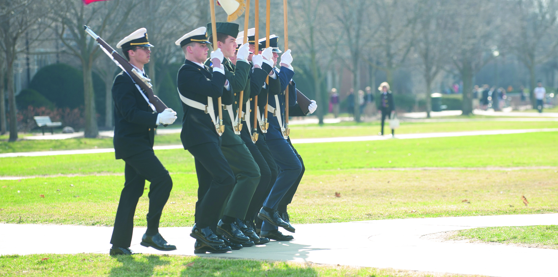 Members of the Navy ROTC participate in the Pass and Review on South Quad on April 9. ROTC members will participate in a 24-hour vigil at the Clarke Memorial Fountain for Veterans Day.