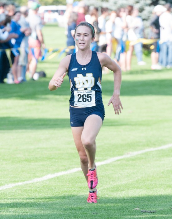 Irish junior Molly Seidel makes her final push to the line en route to a victory at the National Catholic Championships on Sept. 19.