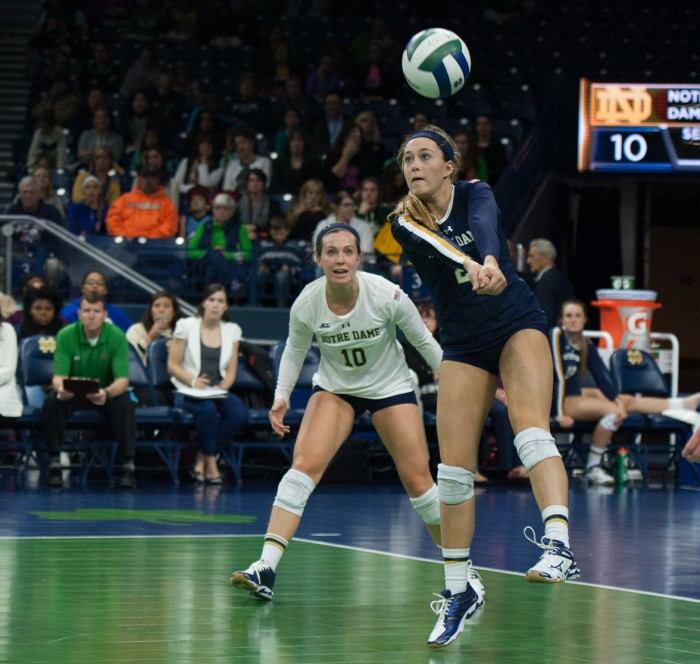 Irish freshman libero Natalie Johnson bumps the ball forward in a 3-2 victory over Louisville on Nov. 9 at Purcell Pavilion.