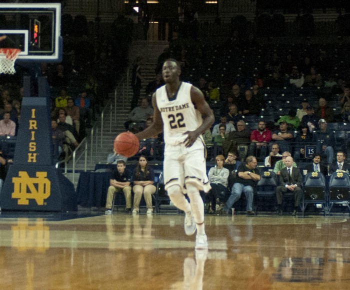 Irish senior guard Jerian Grant dribbles the ball upcourt during Notre Dame's exhibition win over Lewis. Grant returns to the court for the Irish for the first time in a year.