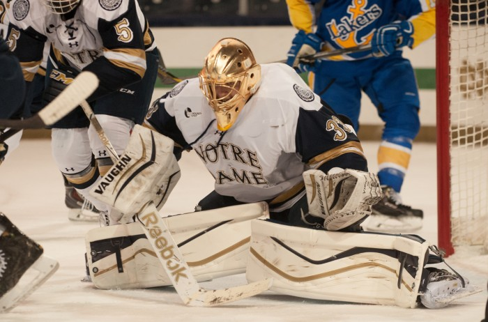 Notre Dame sophomore goaltender Chad Katunar makes a save during a 5-3 home win over Lake Superior State on Oct. 17.