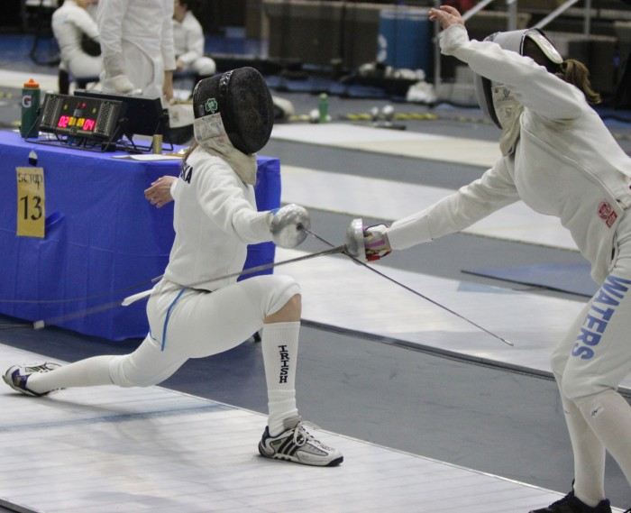 Irish sophomore epee Eva Niklinska goes on the attack during the DeCicco Duals at Joyce Center Fieldhouse on Feb. 9. The women swept the meet, 3-0.