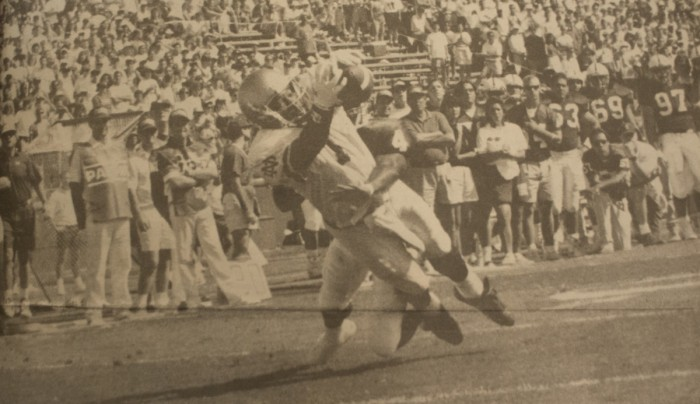 Notre Dame receiver Derrick Mayes catches a pass during a 48-20 victory at Stanford Stadium in Stanford, California on Oct. 2, 1993. The Irish finished the season 11-1 and ranked No. 2 in the polls.
