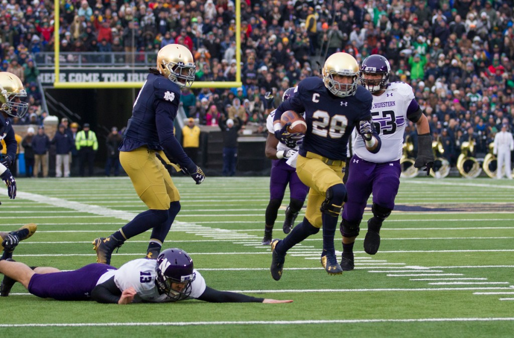 Collinsworth, 20141115, 2014-2015, 20141115, Emmet Farnan, Football, Home, Northwestern, Notre Dame Stadium, The Observer, vs Northwestern