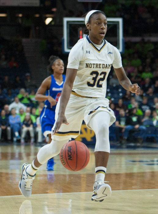 Irish junior guard Jewell Loyd streaks downcourt during Notre Dame's 105-51 blowout over UMass-Lowell last Friday at Purcell Pavilion. Loyd leads the Irish in points per game, with 24.
