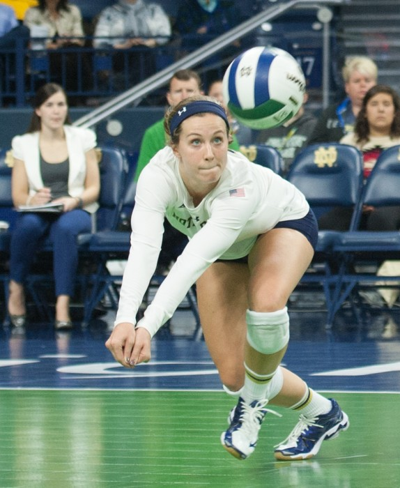 Irish senior libero Kathleen Severyn dives for a shot during Notre Dame's 3-2 win over Louisville on Nov. 9 at Purcell Pavilion.
