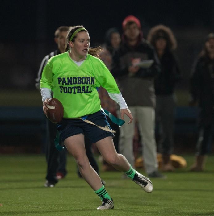 Pangborn senior quarterback Caitlin Gargan looks downfield to pass during a game against Ryan last season.